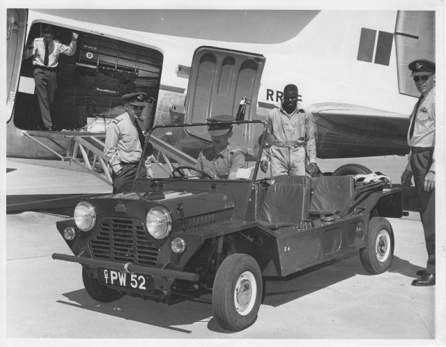Mini Moke being offloaded from Rhodesian Air Force Dakota aircraft