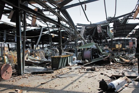 Remains of looted Syrian factory in Aleppo - source Sana/Reuters